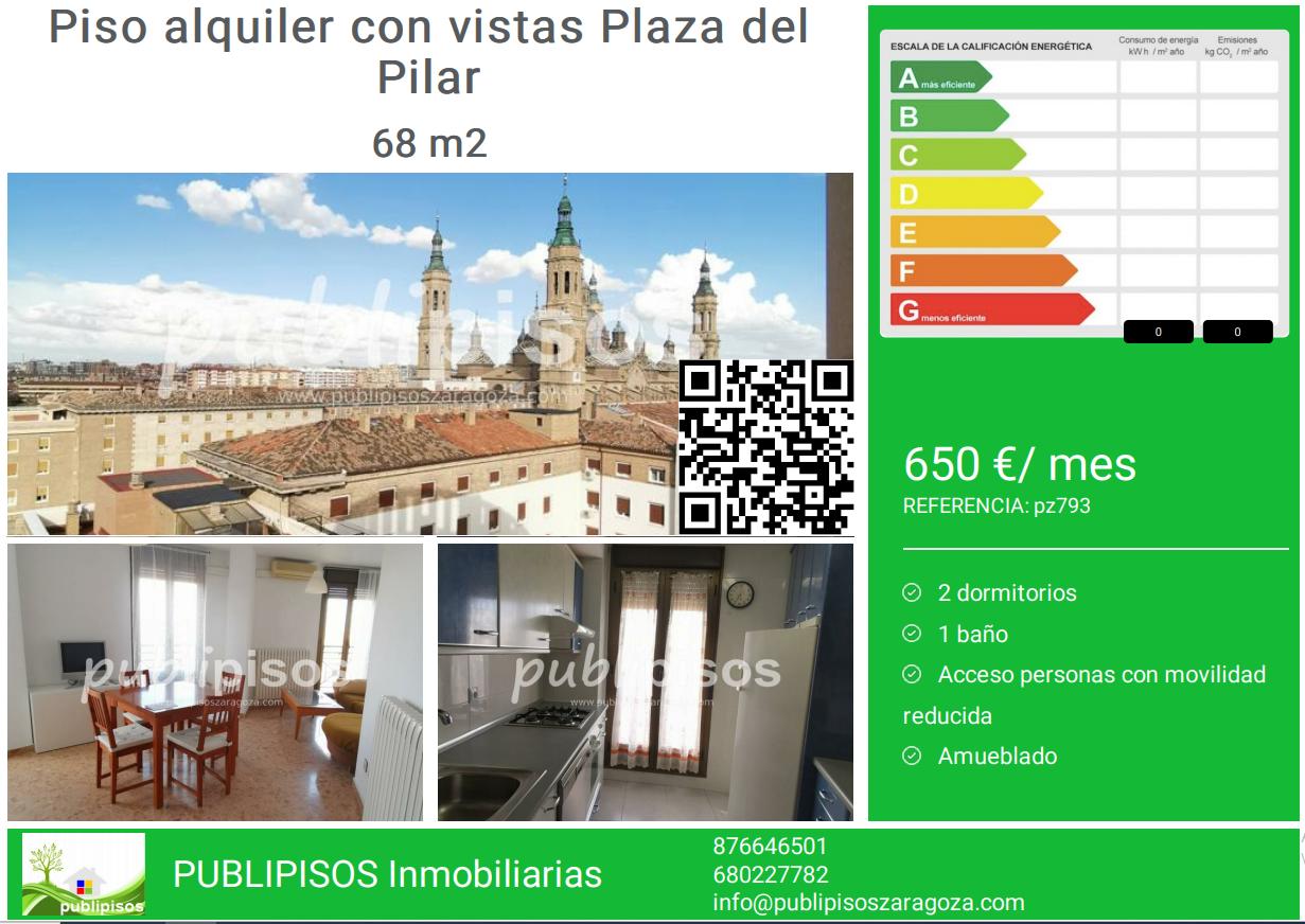 Piso alquiler con vistas Plaza del Pilar