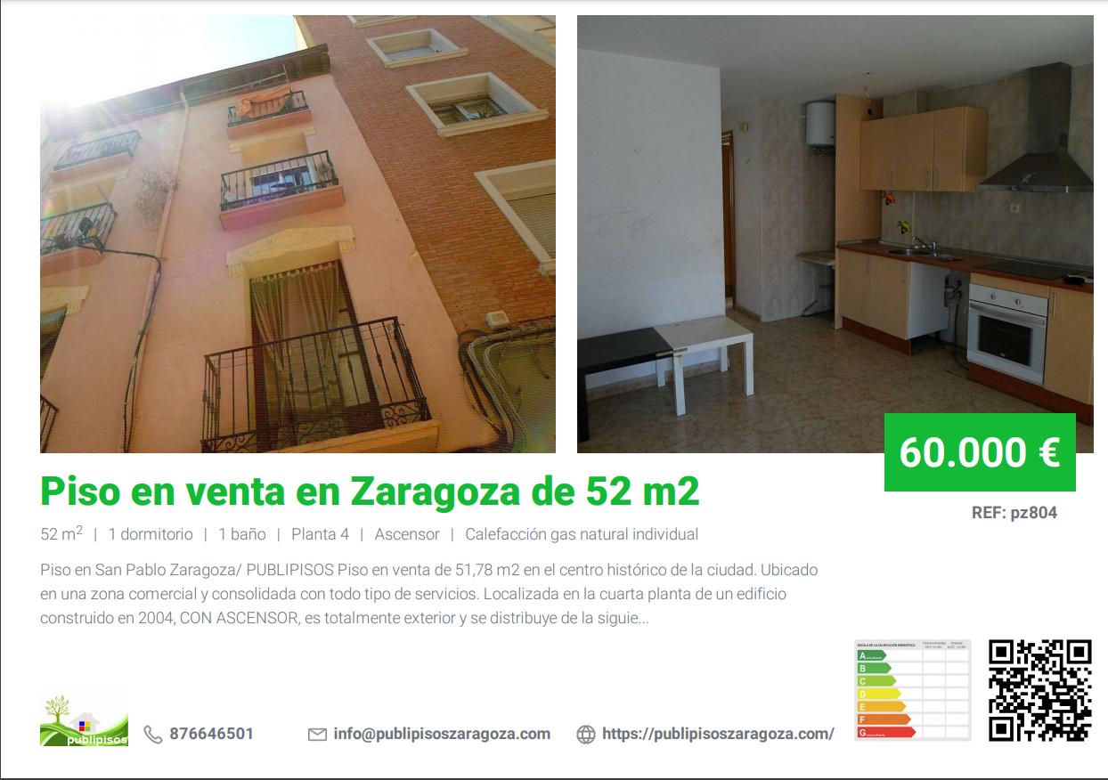 Piso en venta en Zaragoza de 52 m2