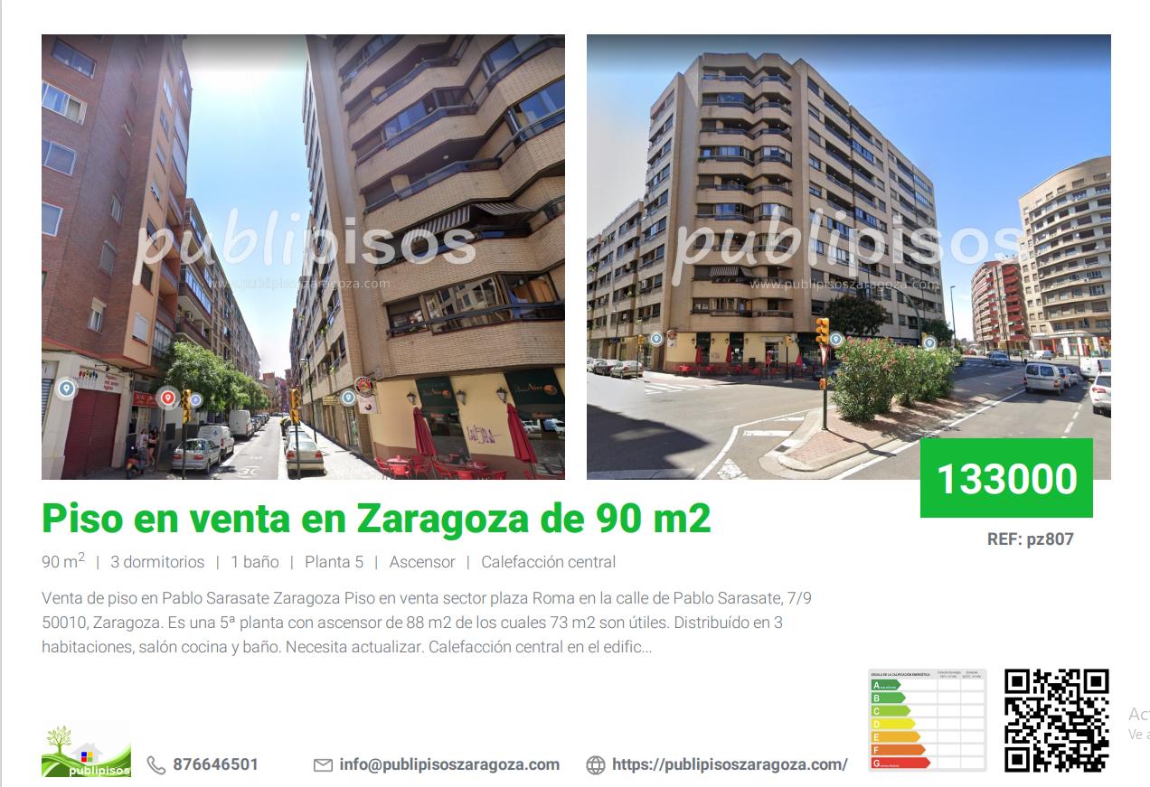 Piso en venta en Zaragoza de 90 m2