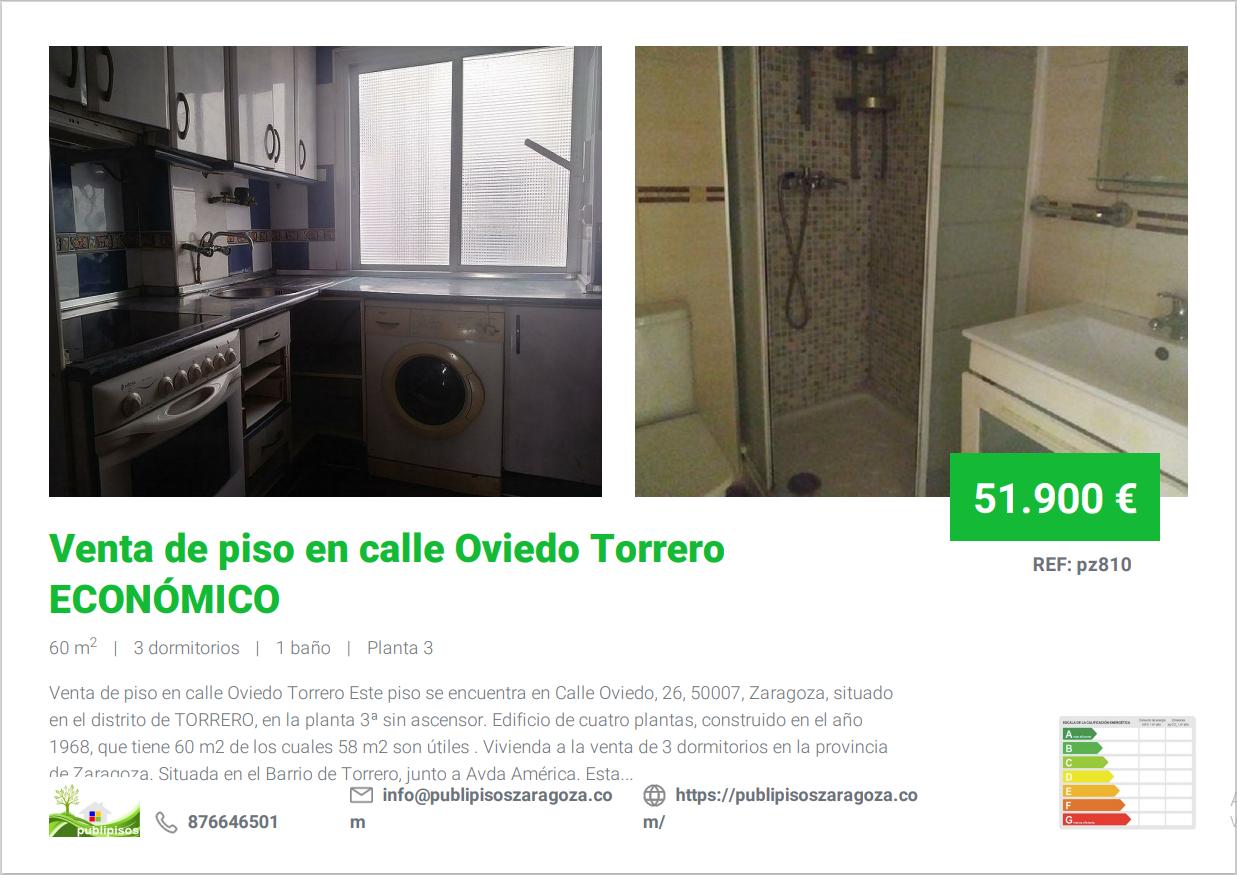 Venta de piso en calle Oviedo Torrero
