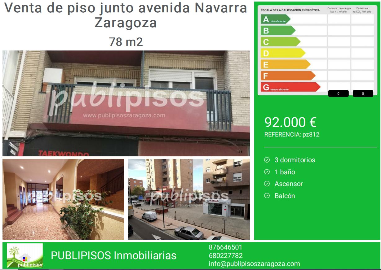 Venta de piso junto avenida Navarra Zaragoza