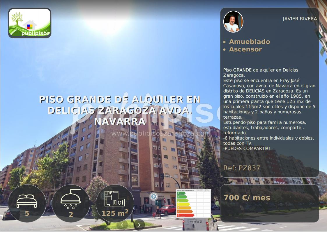 Piso GRANDE de alquiler en Delicias Zaragoza